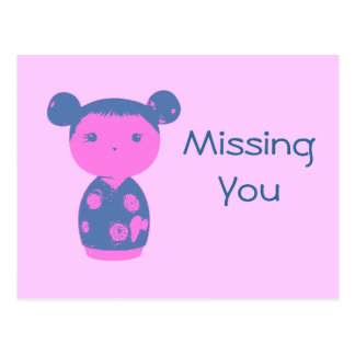 Pink Kokeshi Blue Postcard