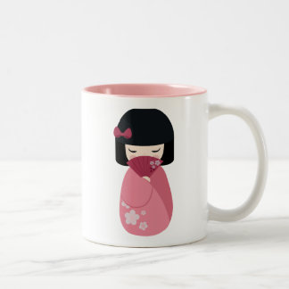 PINK Kokeshi Doll - Cute Japanese Geisha Girl Two-Tone Coffee Mug