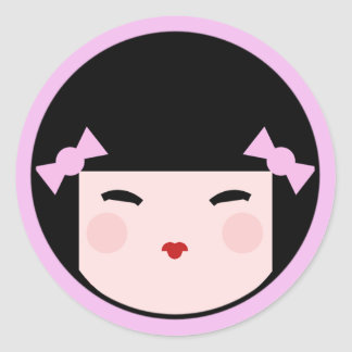 Pink Kokeshi Doll Face Classic Round Sticker