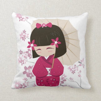 Pink Kokeshi Doll Pillow -White Background