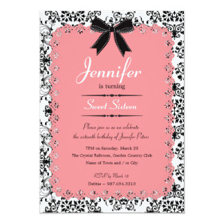 Pink Lace and Black & White Damask Sweet 16 5x7 13 Cm X 18 Cm Invitation Card