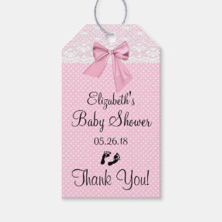 Pink Lace Baby Shower Guest Favor Gift Tags