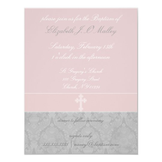 Pink Lace Baptism Invitations