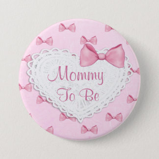 Pink  Lace & Bows  Baby Shower button