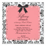 Pink Lace & BW Damask with Bow Sweet 16 5.25x5.25 Square Paper Invitation Card