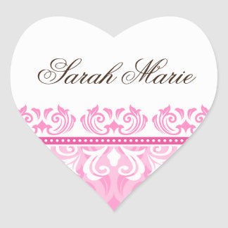Pink lace christening/baptism name seal stickers