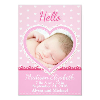Pink Lace Heart Birth Announcement
