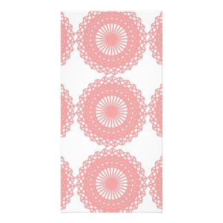 Pink Lace Pattern Design Photo Cards