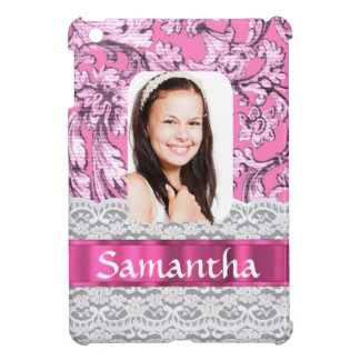 Pink lace personalized photo template iPad mini cases