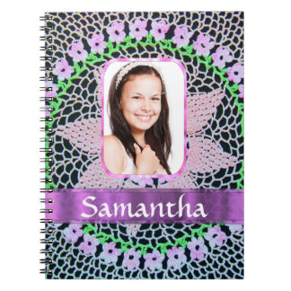 Pink lace photo background notebook