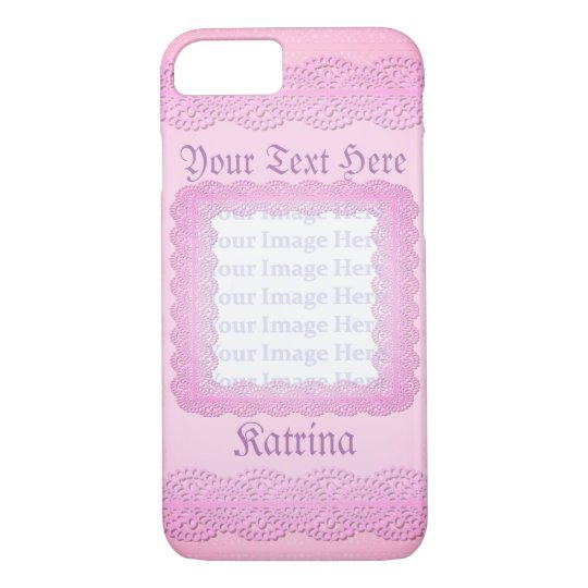 Pink Lace Photo Frame Customisable Phone Case