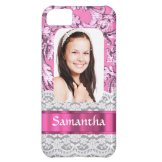 Pink lace photo template iPhone 5C case