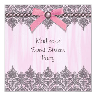 Pink Lace Pink Sweet 16 Birthday Party 13 Cm X 13 Cm Square Invitation Card