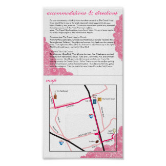 Pink Lace Wedding Accommodations, Directions & Map Poster