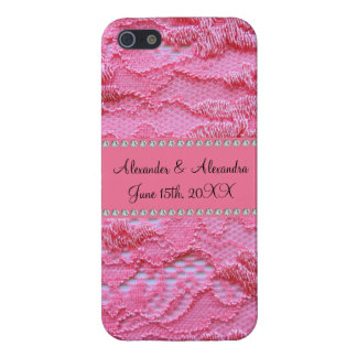 Pink lace wedding favors iPhone 5 covers