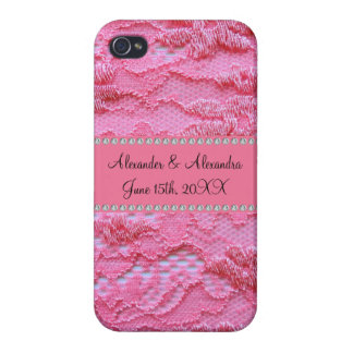 Pink lace wedding favors iPhone 4 cover