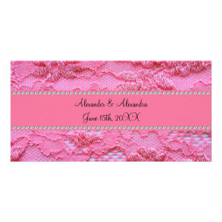 Pink lace wedding favors custom photo card