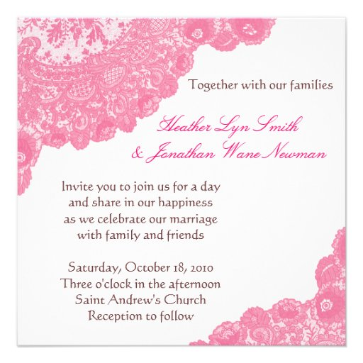 Pink Lace Wedding Invitation