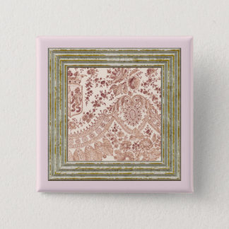 Pink Lace With Roses 15 Cm Square Badge