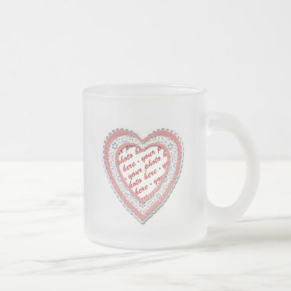Pink Laced Heart Photo Frame Mugs