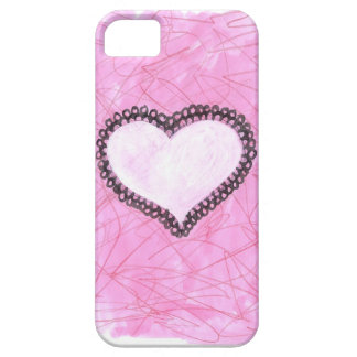 Pink Lacy Heart Painting/Drawing iPhone 5 Cover