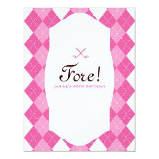 Pink Ladies Golf Party Argyle 4.25x5.5 Paper Invitation Card