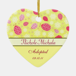 Pink Lady Bug Heart Shaped Adoption Announcement Christmas Ornament