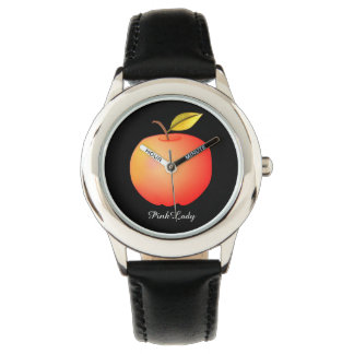 Pink Lady Cool Black Red Apple Simple Contrast Watch