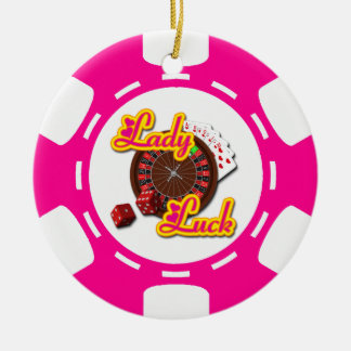 PINK LADY LUCK POKER CHIP ORNAMENT