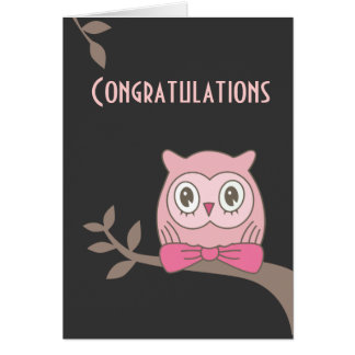 Pink lady owl congratulations cards