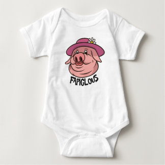 Pink Lady Pig Fabulous Slang Word Children Apparel Baby Bodysuit