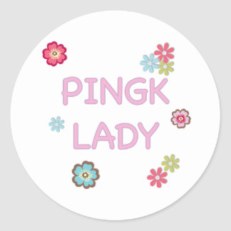Pink Lady Ping Pong Round Sticker