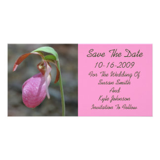 Pink Lady Slipper Floral Wedding Save The Date Customized Photo Card