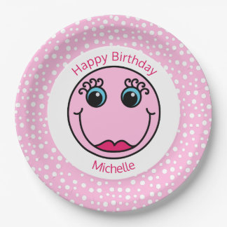 Pink Lady Smiley Face Birthday Party 9 Inch Paper Plate