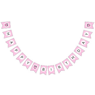 Pink Lady Smiley Face Happy Birthday Bunting