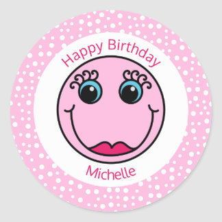 Pink Lady Smiley Face Personalized Birthday Round Sticker