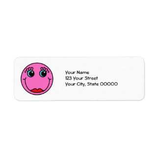 Pink Lady Smiley Face Return Address Label