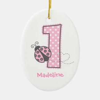 Pink Ladybug 1st Birthday Ceramic Oval Decoration