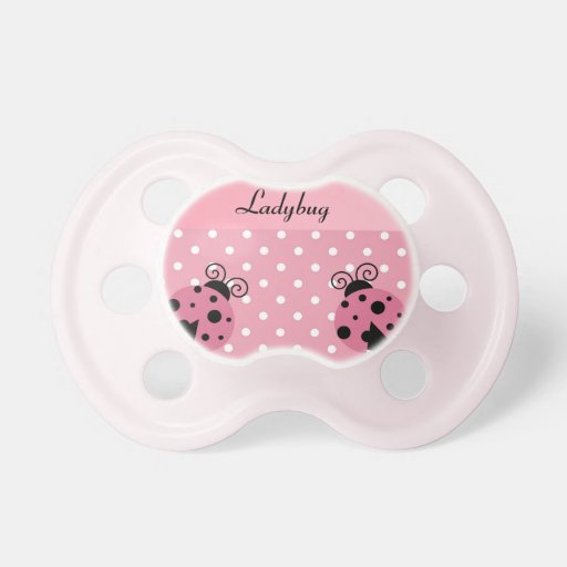 Pink Ladybug and Polka Dots Baby Pacifier