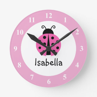 Pink ladybug baby name nursery room wall clock