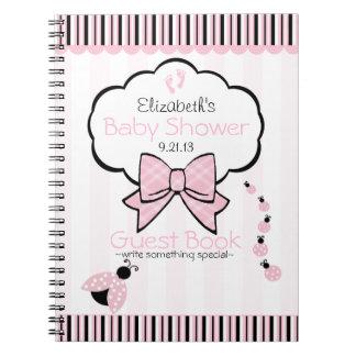 Pink Ladybug Baby Shower Guest Book- Notebook