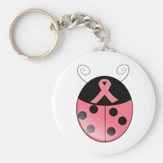 Pink Ladybug Basic Round Button Key Ring