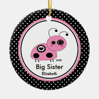Pink Ladybug Big Sister Christmas Ornament