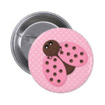 Pink Ladybug Button Flair