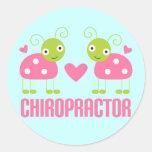 Pink Ladybug Chiropractor Gift Round Stickers