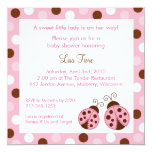 Pink Ladybug Dots Baby Shower Invitations 13 Cm X 13 Cm Square Invitation Card