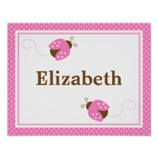 Pink Ladybug Dots Personalized Name Wall Art