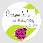 Pink Ladybug Favour Tags Round Stickers