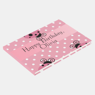 Pink Ladybug Happy Birthday Guestbook