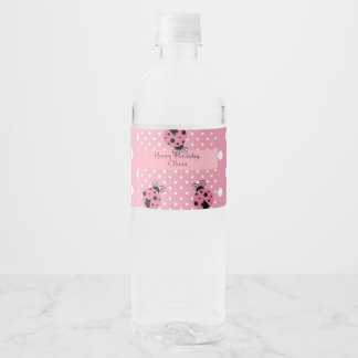 Pink Ladybug Happy Birthday Water Bottle Label